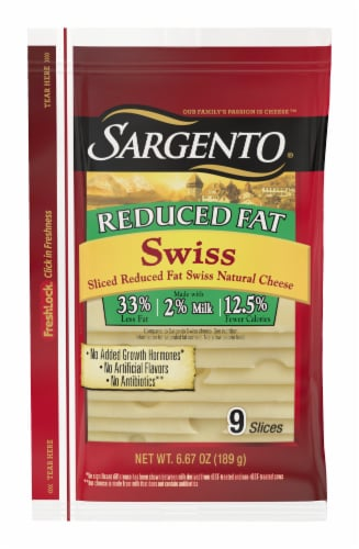 Sargento Reduced Fat Swiss Cheese Slices Perspective: front