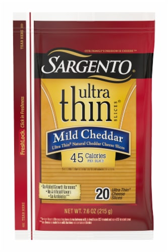 Sargento Ultra Thin Mild Cheddar Cheese Slices 20 Count Perspective: front