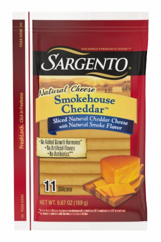 Sargento Natural Smokehouse Cheddar Cheese Slices Perspective: front