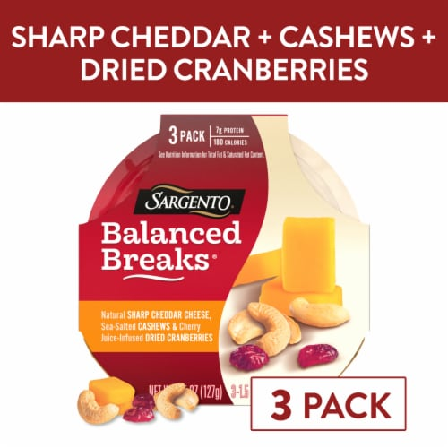 Sargento Balanced Breaks Sharp Cheddar Cashews & Cranberries 3 Count Perspective: front