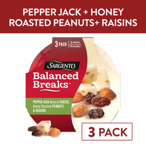 Sargento Balanced Breaks Pepper Jack Cheese Honey Roasted Peanuts & Raisins Snacks 3 Count Perspective: front