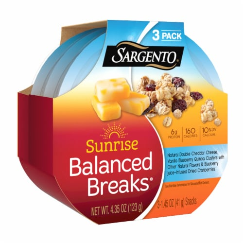 Sargento Sunrise Balanced Breaks Double Cheddar Cheese & Quinoa Clusters Perspective: front