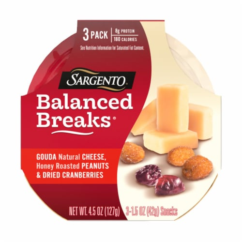 Sargento Balanced Breaks Gouda Cheese Honey Roasted Peanuts & Dried Cranberries Snacks Perspective: front