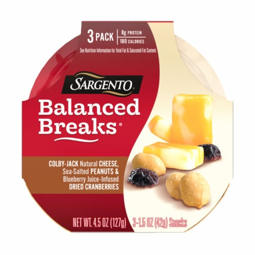 Sargento Balanced Breaks Colby Jack Cheese Peanuts & Dried Cranberries Snack Packs Perspective: front