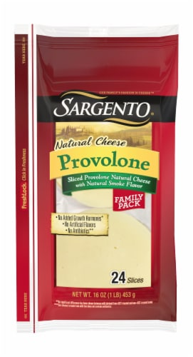 Sargento Natural Smoked Provolone Sliced Cheese Perspective: front