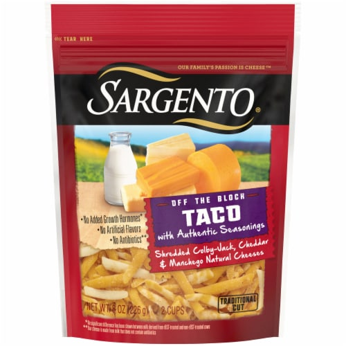 Sargento Off the Block Shredded Taco Cheese Perspective: front
