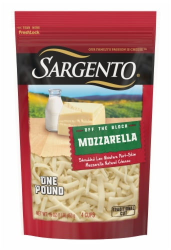 Sargento Off the Block Shredded Mozzarella Cheese Perspective: front