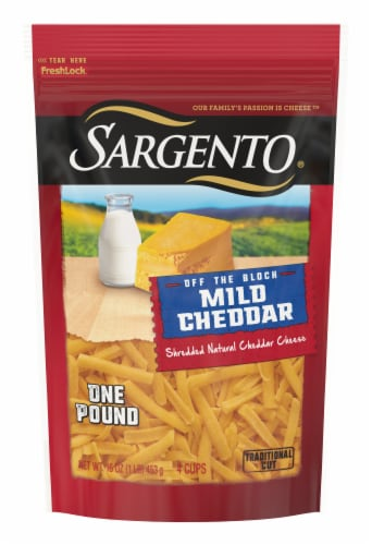Sargento Off the Block Mild Cheddar Shredded Cheese Perspective: front