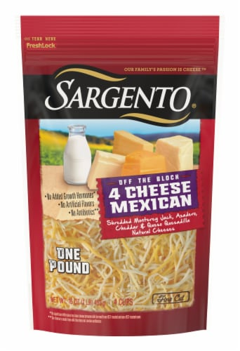 Sargento Off the Block Fine Cut Shredded 4 Cheese Mexican Cheese Perspective: front