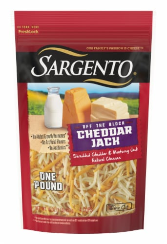 Sargento Off the Block Shredded Cheddar Jack Cheese Perspective: front