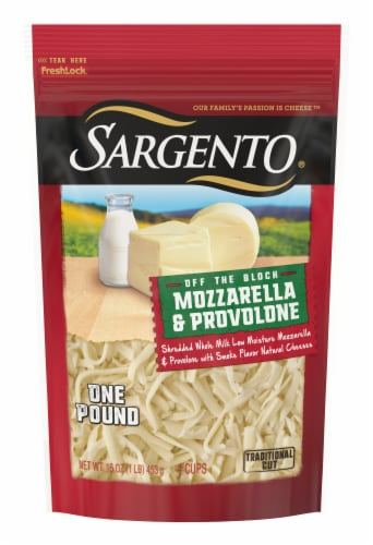 Sargento Off the Block Mozzarella & Provolone Shredded Cheese Perspective: front