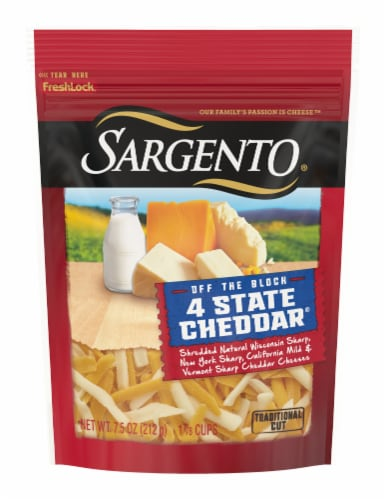 Sargento Off the Block Shredded 4 State Cheddar Cheese Perspective: front