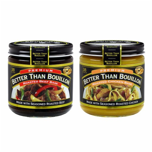 Better than Bouillon Premium Roasted Beef Base & Roasted Chicken Base 8 ounce Jars-Pack of 2 Perspective: front