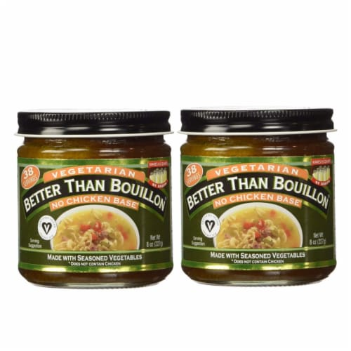 Better Than Bouillon No Chicken Base Two Pack (8oz Each) Vegetarian Bouillon Base for Soups Perspective: front