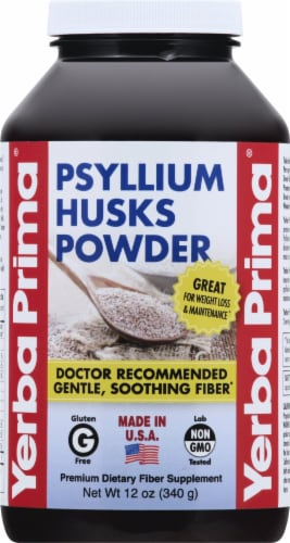 Yerba Prima Psyllium Husks Powder All Natural Fiber Supplement Perspective: front