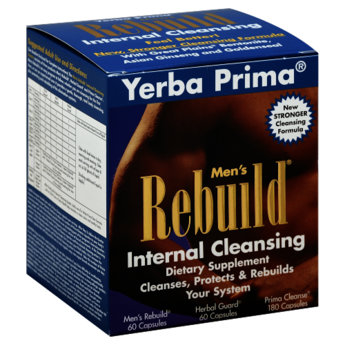 Yerba Prima Men's Rebuild Internal Cleansing Capsules Perspective: front