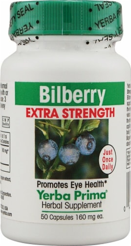 Yerba Prima Bilberry Extra Strength Capsules 160mg Perspective: front