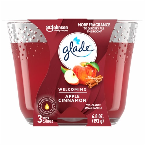 Glade Welcoming Apple Cinnamon 3 Wick Candle Perspective: front