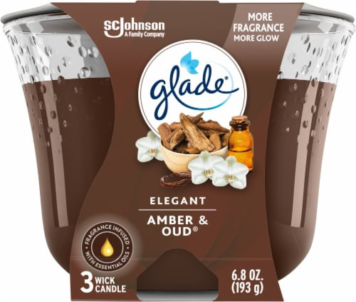 Glade Elegant Amber & Oud 3 Wick Scented Candle Perspective: front
