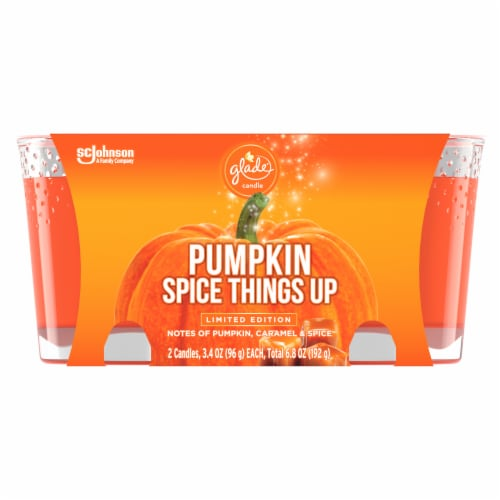 Glade Limited Edition Pumpkin Spice Things Up Candles 2 Count Perspective: front
