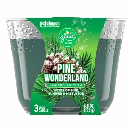 Glade Pine Wonderland 3 Wick Candle Perspective: front