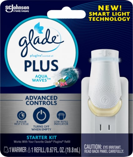 Glade Plus Aqua Waves Scented Oil Plugin and Warmer Starter Kit Perspective: front