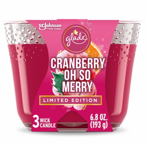 Glade Cranberry Oh So Merry 3 Wick Candle Perspective: front