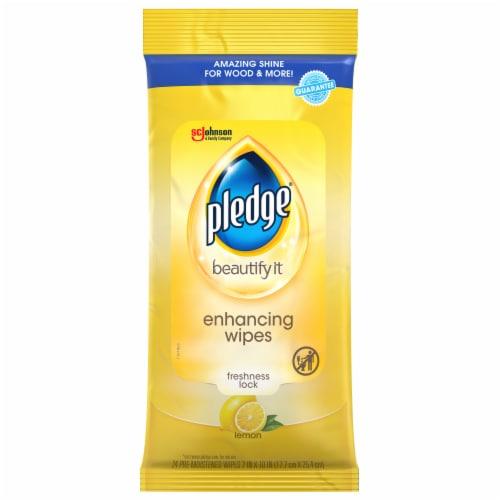 Pledge® Beautify It Lemon Enhancing Wipes Perspective: front
