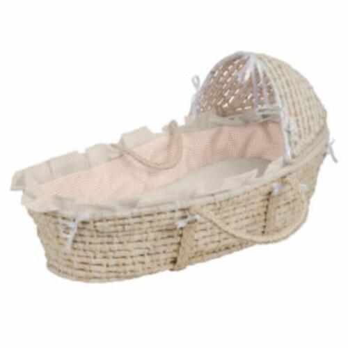 NATURAL Hooded Moses Basket - Ecru/Beige Gingham Bedding Perspective: front