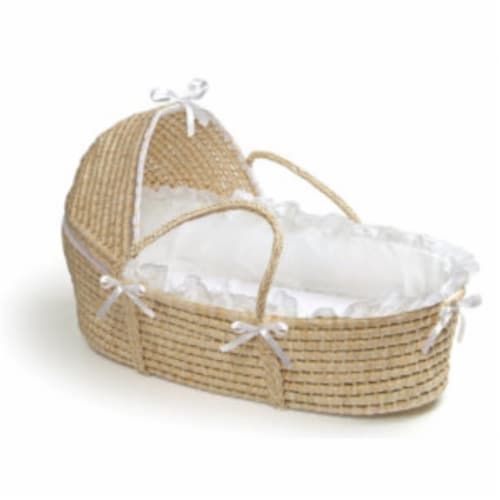 NATURAL Moses Basket with Hood and White Bedding Perspective: front