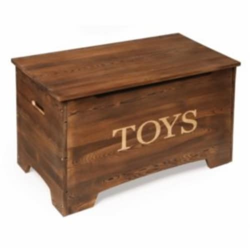 Solid Wood Rustic Toy Box - Caramel Brown Perspective: front