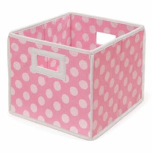 Folding Nursery Basket/Storage Cube - Pink Polka Dot Perspective: front
