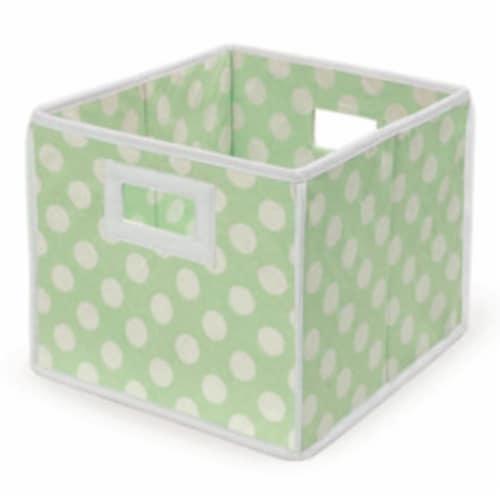Folding Nursery Basket/Storage Cube - Sage Polka Dot Perspective: front