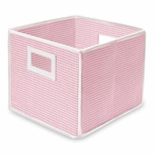 Folding Nursery Basket/Storage Cube - Pink Gingham Perspective: front