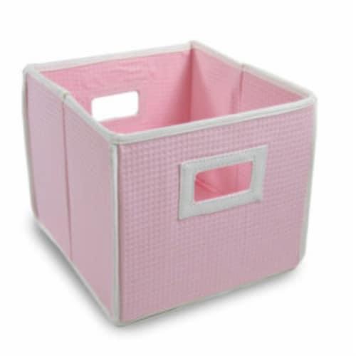 Folding Nursery Basket/Storage Cube - Pink Waffle Perspective: front