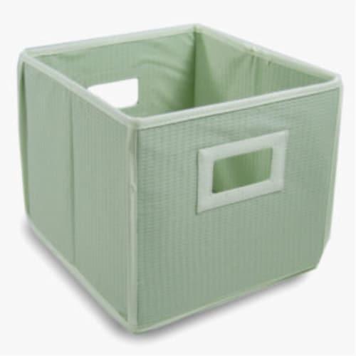 Folding Nursery Basket/Storage Cube - Sage Waffle Perspective: front