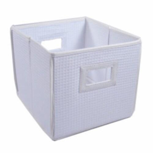 Folding Nursery Basket/Storage Cube - White Waffle Perspective: front