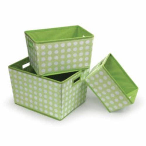 Trapezoid Basket Set - Sage Polka Dot - 3/set Perspective: front