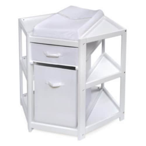Diaper Corner Changing Table w/Hamper and Basket - White Perspective: front