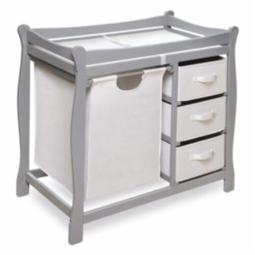 Sleigh Style Changing Table with Hamper/3 Baskets - Gray Perspective: front