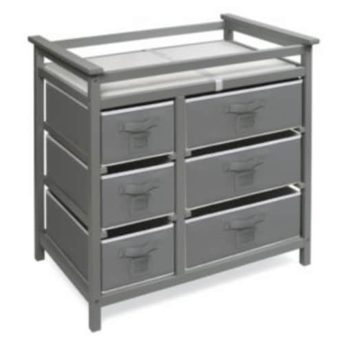 Modern Baby Changing Table with Six Baskets - Gray Perspective: front
