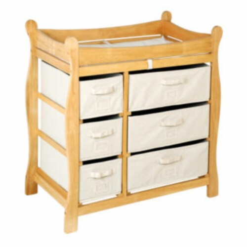 Sleigh Style Changing Table with Six Baskets - Natural Perspective: front