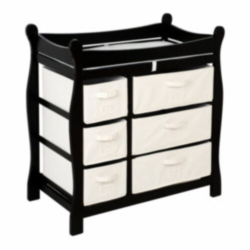 Sleigh Style Changing Table with Six Baskets - Black Perspective: front