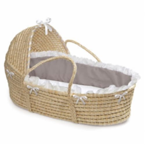 NATURAL Hooded Moses Basket - Gray Bedding Perspective: front
