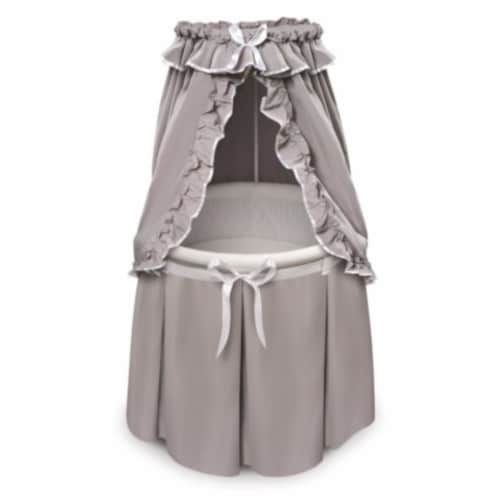 Empress Round Baby Bassinet with Canopy - Gray/White Perspective: front