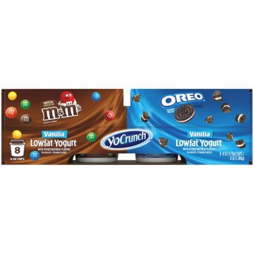 YoCrunch Cookies 'n Cream Oreo & M&Ms Vanilla Yogurt Cups Perspective: front