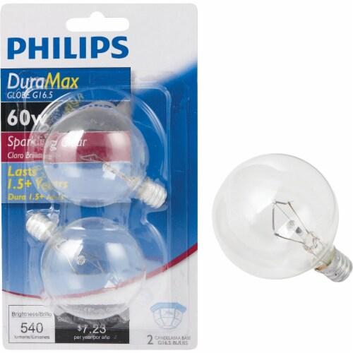 Philips DuraMax 60-Watt Candelabra Base G16 Globe Light Bulbs Perspective: front
