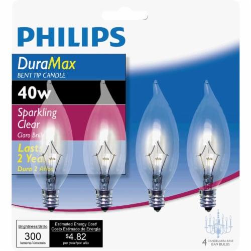 Philips DuraMax 40-Watt Candelabra Base BA9 Bent Tip Candle Light Bulbs Perspective: front