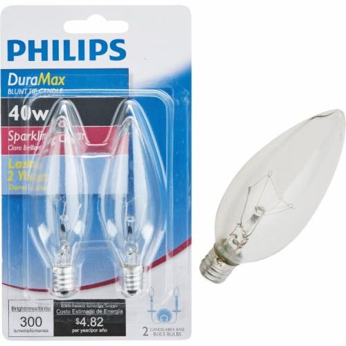Philips DuraMax 40-Watt Candelabra Base B10.5 Blunt Tip Candle Light Bulbs Perspective: front