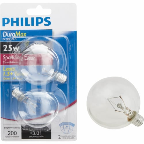 Philips 2pk 25w Clr Globe Bulb 168450 Perspective: front